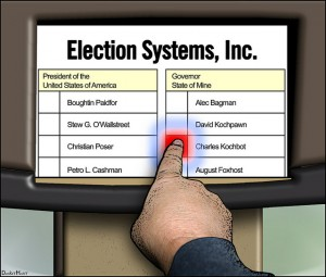 Finger pressing on electronic voting screen